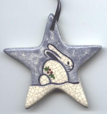 Rabbit Ornament, bunnyRabbit Ornament, Dedham Pottery Ornament ...