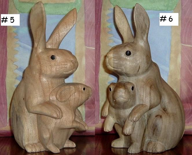 Carved Bunny Carved Rabbit Wood Bunny Wood Rabbit Wood