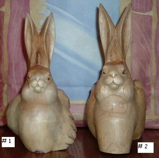 Painted Wood Carved Rabbit Metal Ears