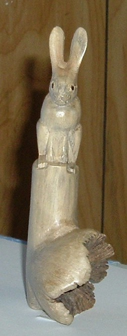 Carved bunny rabbit wood
