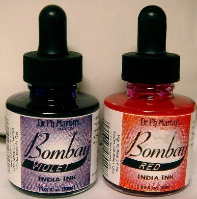 Bombay India Ink (liquid) *!NEW!* Green, Violet, Red, Teal (blue)