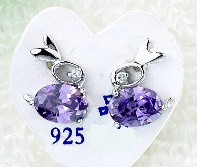 Purple Bunny Rabbit Earrings - Sterling Silver